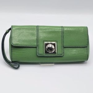Banana Republic Green Leather Clutch Lizard Print